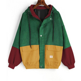 Casual Oversize Zipper Corduroy Patchwork Jacket