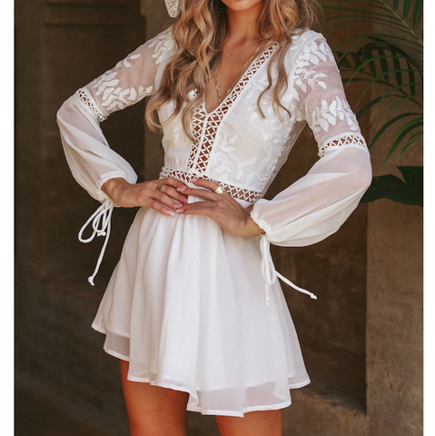 White Long Sleeve Stitching V-Neck Halter Waist Dress