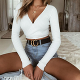 Women's Sexy V-neck Solid Color Long Sleeve Top