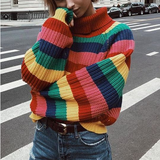 Women'S Loose Striped Knit Large Size Sweater