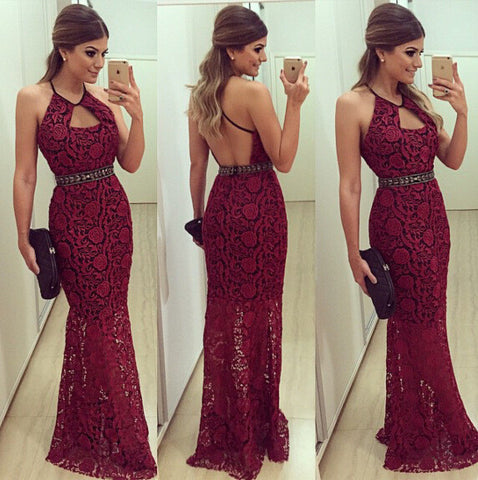 ROUND NECK LACE HALTER DRESS