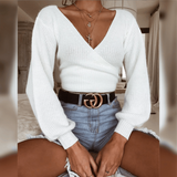 Fashion White Long-Sleeved V-Neck Sweater
