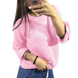 Women'S Solid Color Round Neck Knit Sweater