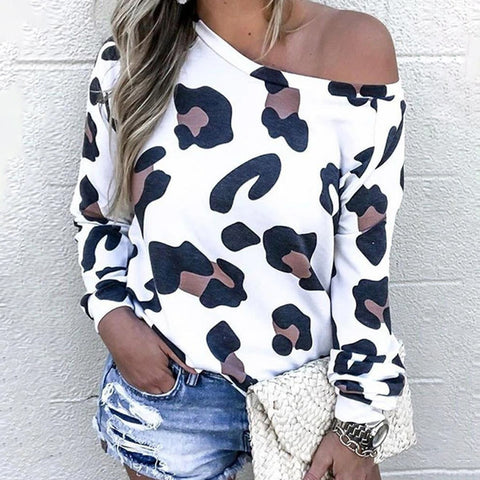 Slim Sexy Strapless Leopard Print Long Sleeve Top