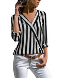 Women's Long Sleeve V-neck Striped Shirt