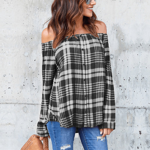 Breasted Plaid Long-Sleeved Shirt