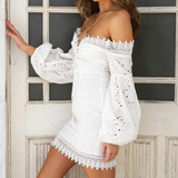 Fashion Embroidered Splicing One-Shoulder Long Sleeve Dress