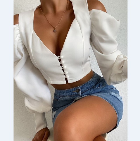 V-Neck Sexy Long-Sleeved Buttoned Slim T-Shirt