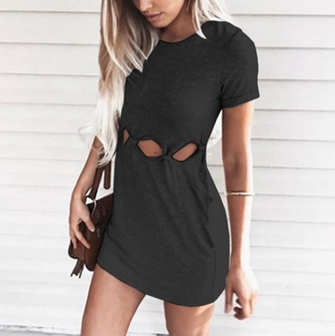 Sexy Irregular Round Neck Bag Hip Short-Sleeved Dress