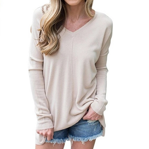 Solid Color Women'S V-Neck Long-Sleeved T-Shirt