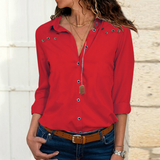 Long Sleeve Button Women'S Chiffon Shirt