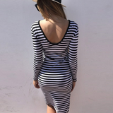 Slim Sexy Backless Striped Long Sleeve Dress