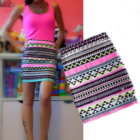 Sexy Printing High pockets hip skirt
