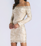 Sexy Wrapped Chest Long Sleeve Mini Embroidered Dress