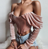 Solid Color Off-Shoulder Long Sleeve T-Shirt
