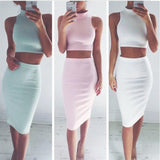 SEXY SLEEVELESS TWO-PIECE PACKAGE HIP DRESS