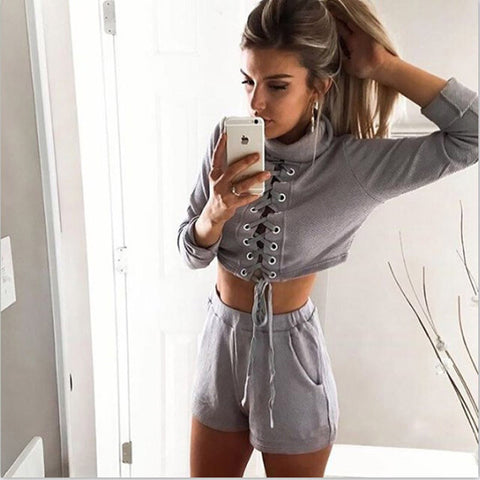Fashion long-sleeved two-piece shorts