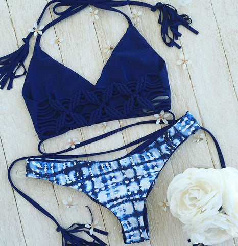 Sexy Swimwear Bandages Ladies Blue Print Bikini