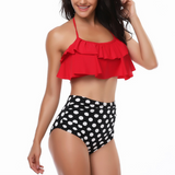 Ruffled High Waist Split Swimsuit Bikini