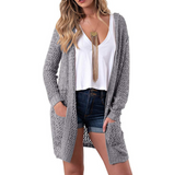 Long Sleeve Knit Solid Color Cardigan Sweater