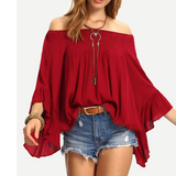 Red Strapless Long Sleeve Shirt