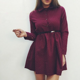 Fashion long-sleeved red dress