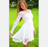 Solid color Lace White dress