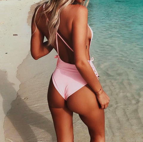 Solid Color One-Piece Swimsuit Bikini