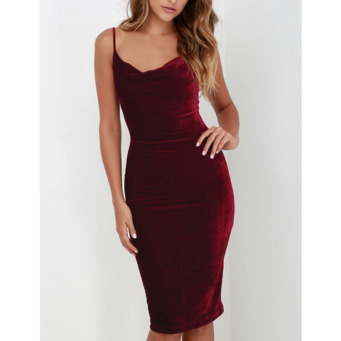 Sexy Sling Backless Package Hip Dress
