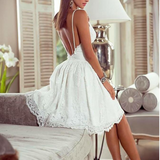 Sexy Lace Sling Backless White Dress