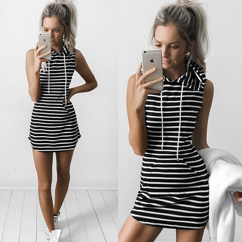 Solid Color Sleeveless Hooded Dress