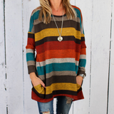 Fashion Round Neck Striped Long-Sleeved T-Shirt