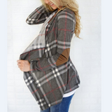 Loose Plaid Long Sleeve Cardigan Coat