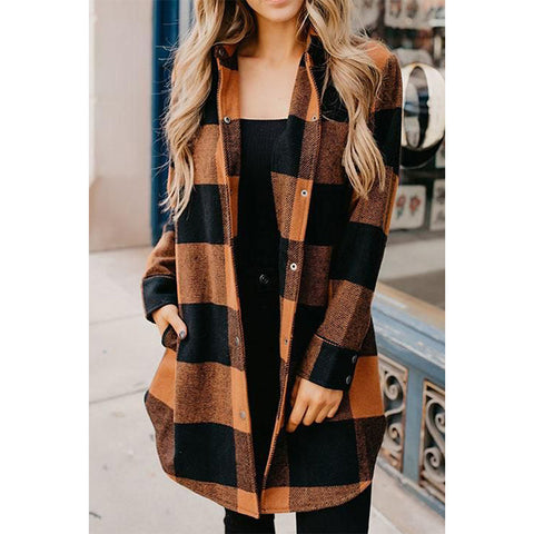 Casual Plaid Printed Long Sleeve Sweater Jacket