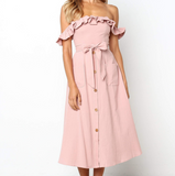 Pink One-Shoulder Ruffled Backless Pocket Dress