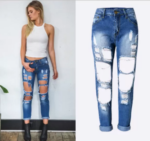 Women Ripped Denims Boyfriend Hole Jeans Trousers Pants