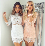 Fashion Solid Color Lace Dress