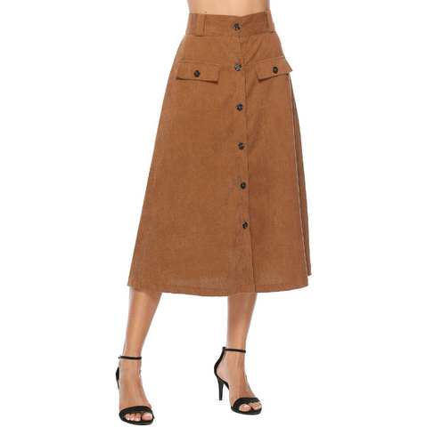 Women'S Button Pocket Skirt