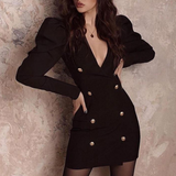 Slim Temperament Double-Breasted Princess Sleeve Sexy Dress