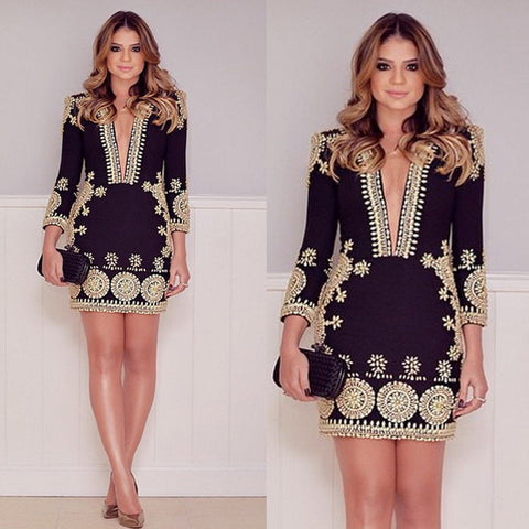 Fashion black print dress
