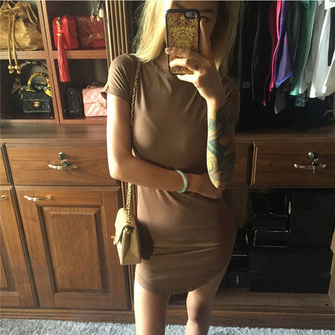 Fashion round neck short-sleeved dress
