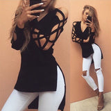 Fashion sexy V-neck long-sleeved T-shirt