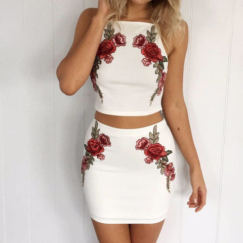 Solid Color White Embroidery Two-Piece Dress