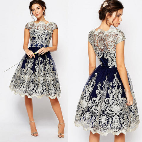 Fashion Lace Embroidery Princess Dress