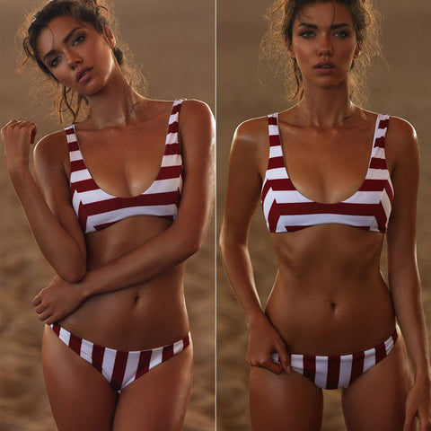 Sexy Stripe Two Piece Bikini Vest Swimsuit