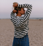 Sexy Hooded Long Sleeve Striped Sweater
