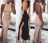 Solid Color Sexy Backless Sleeveless Dress