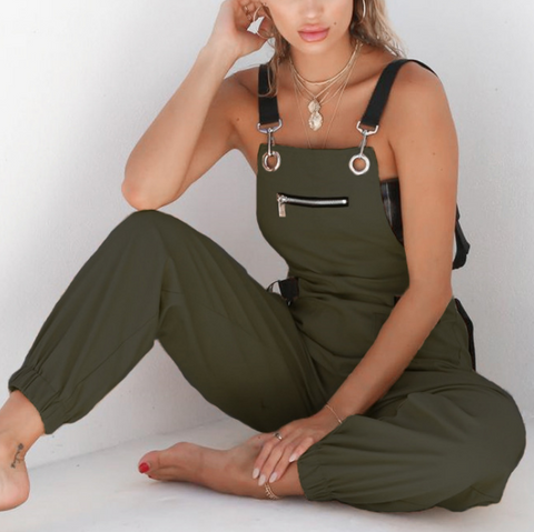 Design Sleeveless Adjusted Strap Petite Jumpsuit