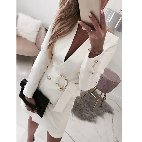 White Deep V-Neck Slim Long Sleeve Dress