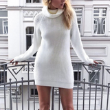 Women Knitted Long-Sleeved High-Necked White Sweater
